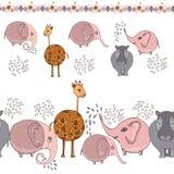 Śliczna kreskówki zwierzęcia granica z żyrafą, słoniami i hipopotamem, Zdjęcia Royalty Free