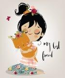 Śliczna lato dziewczyna z kotem ilustracja wektor