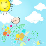 Śliczna lato teksta ilustracja z ptakiem Zdjęcie Stock