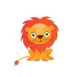 Śliczna lew kreskówka na białej tło wektoru ilustraci Obraz Stock