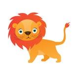 Śliczna lew kreskówka na białej tło wektoru ilustraci Zdjęcie Royalty Free