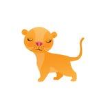 Śliczna lew kreskówka na białej tło wektoru ilustraci Fotografia Stock