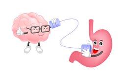 Śliczna ludzka żołądek rozmowa móżdżkowi charaktery obok telefonować może Zdjęcie Royalty Free