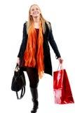 Śliczna Młoda caucasian kobieta z torba na zakupy w odosobnionym bielu Obraz Royalty Free