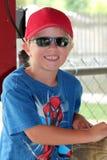 Śliczna młoda chłopiec w czlowiek-pająk koszula Obraz Royalty Free