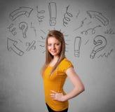 Śliczna młoda dziewczyna z pytanie znaka doodles ilustracji