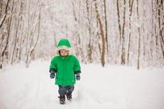 Śliczna mała berbeć chłopiec w pięknym ciepłym stroju Obraz Stock