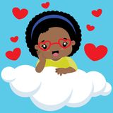 Śliczna Mała Czarna dziewczyna Siedzi na chmurze z szkłami Obraz Stock