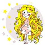 Śliczna mała czarodziejska dziewczyna w koronie z gwiazdami Ręka rysująca wektorowa ilustracja Obrazy Royalty Free