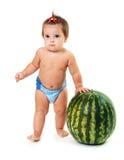 Śliczna mała dziewczynka i arbuz Zdjęcie Stock