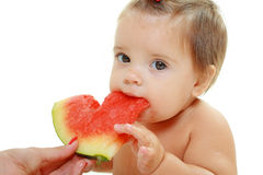 Śliczna mała dziewczynka je arbuza plasterek Obraz Royalty Free