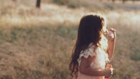 Śliczna mała dziewczynka jest dmuchać mydlani bąble zdjęcie wideo