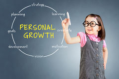 Śliczna mała dziewczynka jest ubranym biznes suknię i rysunkowego kółkowego struktura diagram osobisty wzrostowy pojęcie niebiesk obrazy royalty free