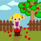 Śliczna mała dziewczynka w jabłka gospodarstwie rolnym Zdjęcie Stock