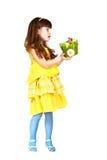 Dziewczyna daje Easter królikowi Zdjęcia Stock