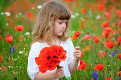 Śliczna mała dziewczynka z bukietem czerwoni maczki Zdjęcia Stock