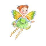 Śliczna mała dziewczynka z słodkim uśmiechem ubierał up jako kwiat czarodziejka Zdjęcia Royalty Free