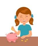Śliczna małej dziewczynki pozycja przy stołem stawia monety w prosiątko banku i sen zakup coś royalty ilustracja