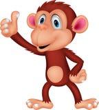 Śliczna małpia kreskówka z kciukiem up Zdjęcia Royalty Free