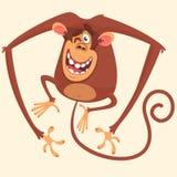 Śliczna małpia mruganie kreskówka Wektorowa rysunkowa ikona odizolowywająca śliczna małpa royalty ilustracja