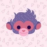 Śliczna małpy głowa w pastelowych menchii kolorach Obraz Royalty Free