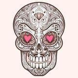 Śliczna meksykańska cukrowa czaszka ilustracja wektor