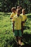śliczna miejscowy szkoła żartuje uczni stoi z rzędu na małej nożnej ścieżce krzyżuje trawiastych pola obrazy royalty free
