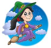 śliczna miotły czarownica Fotografia Royalty Free