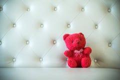 Śliczna misia pluszowego koloru czerwień z kanapą 1 fotografia stock