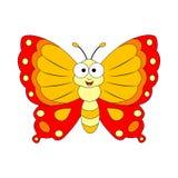 śliczna motylia kreskówka Wektorowa ilustracja odizolowywająca na białych półdupkach Fotografia Stock