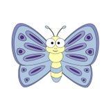 śliczna motylia kreskówka Wektorowa ilustracja odizolowywająca na białych półdupkach Obrazy Stock
