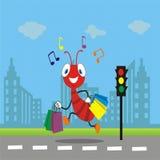 Śliczna mrówka przychodząca do domu od zakupy fotografia royalty free