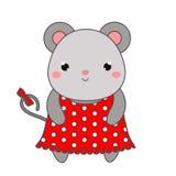 Śliczna mysz w polki kropki sukni Dzieci projektują, odizolowywali, projekta element, wektor Kreskówki kawaii zwierzęcia charakte ilustracji