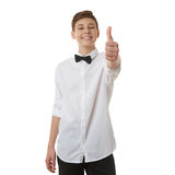 Śliczna nastolatek chłopiec nad białym odosobnionym tłem Zdjęcie Royalty Free