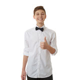 Śliczna nastolatek chłopiec nad białym odosobnionym tłem Obrazy Stock