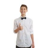 Śliczna nastolatek chłopiec nad białym odosobnionym tłem Fotografia Stock