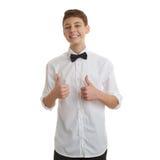 Śliczna nastolatek chłopiec nad białym odosobnionym tłem Zdjęcie Stock
