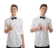 Śliczna nastolatek chłopiec nad białym odosobnionym tłem Zdjęcia Royalty Free
