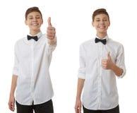 Śliczna nastolatek chłopiec nad białym odosobnionym tłem Obraz Royalty Free