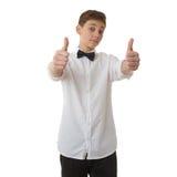 Śliczna nastolatek chłopiec nad białym tłem Obrazy Stock