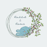 śliczna naturalna rama od gałąź róża z błękitnym królikiem Zdjęcie Royalty Free