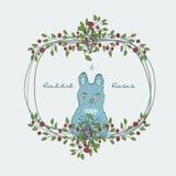 śliczna naturalna rama od gałąź róża z błękitnym królikiem Obrazy Royalty Free