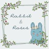 śliczna naturalna rama od gałąź róża z błękitnym królikiem Obraz Stock