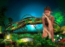 Śliczna natury dziewczyna obok wody Zdjęcie Royalty Free