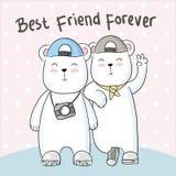 Śliczna niedźwiadkowa przyjaźni ręka rysująca ilustracji