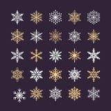 Śliczna płatek śniegu kolekcja odizolowywająca na ciemnym tle Płaskie śnieżne ikony, śnieżna płatek sylwetka Ładny element dla Zdjęcie Royalty Free