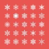 Śliczna płatek śniegu kolekcja odizolowywająca na czerwonym tle Płaskie śnieżne ikony, śnieżna płatek sylwetka Ładny element dla Obraz Royalty Free