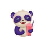 Śliczna panda z milkshake napoju ilustracją ilustracji