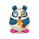 Śliczna pandy aktywności ilustracja Z Zhumanizowanym kreskówka niedźwiedzia charakterem Pije herbaty I Je ciastko W kapciach ilustracja wektor