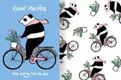 Śliczna pandy ręka rysująca z editable wzorami ilustracji
